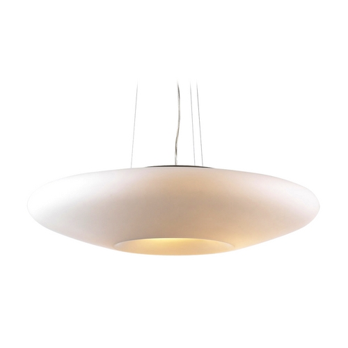 PLC Lighting Modern Pendant Light with White Glass in Satin Nickel Finish 81225 SN