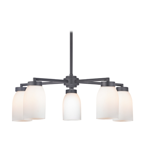 Design Classics Lighting Modern Chandelier with Five Lights and White Glass in Black Finish 590-07 GL1028D
