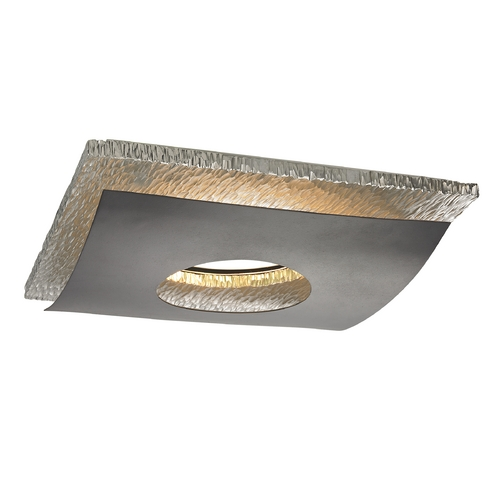 Recesso Lighting by Dolan Designs Hammered Chrome Decorative Square Ceiling Trim for Recessed Lights 10912-34