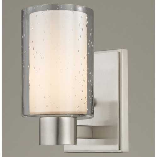 Design Classics Lighting Seeded Frosted Glass Sconce Satin Nickel 2101-09 GL1061 GL1041C