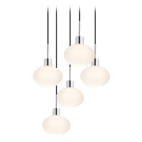 Sonneman Lighting Modern Multi-Light Pendant Light with White Glass and 5-Lights 3565.01K-5