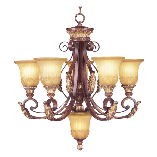 Livex Lighting Livex Lighting Villa Verona Bronze with Aged Gold Leaf Accents Chandeliers with Center Bowl 8555-63