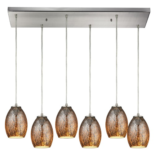 Elk Lighting Elk Lighting Venture Satin Nickel Multi-Light Pendant with Bowl / Dome Shade 10256/6RC