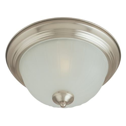 Maxim Lighting Flushmount Light with White Glass in Satin Nickel Finish 5831FTSN