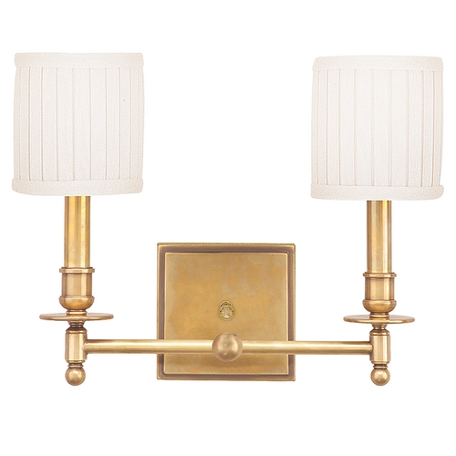 Hudson Valley Lighting Sconce Wall Light with White Shades in Aged Brass Finish 302-AGB