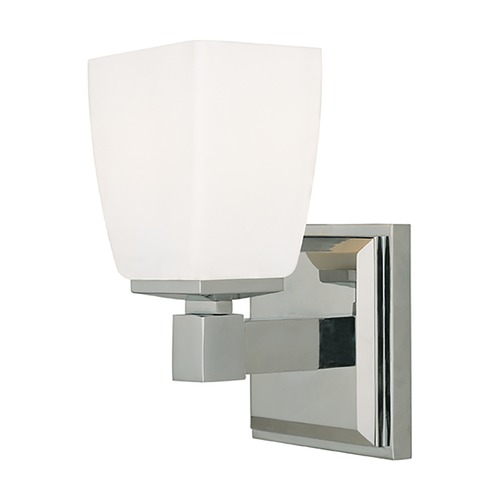 Hudson Valley Lighting Modern Sconce with White Glass in Polished Chrome Finish 6201-PC
