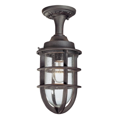 Troy Lighting Outdoor Hanging Light with Clear Glass in Nautical Rust Finish C1864NR