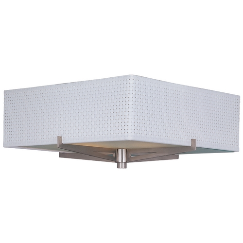ET2 Lighting Modern Flushmount Light with White Shades in Satin Nickel Finish E95340-100SN