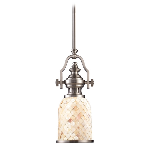 Elk Lighting Mini-Pendant Light with Beige / Cream Glass 66422-1