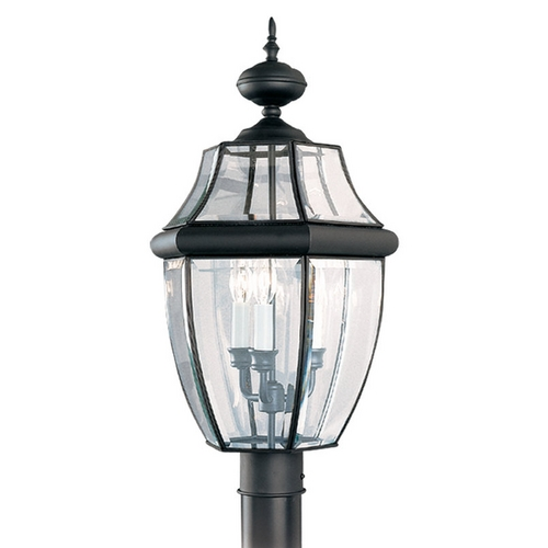 Sea Gull Lighting Post Light with Clear Glass in Black Finish 8239-12