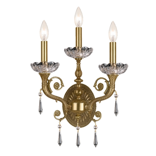 Crystorama Lighting Crystal Sconce Wall Light in Aged Brass Finish 5173-AG-CL-MWP