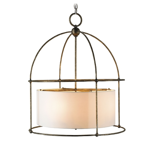 Currey and Company Lighting Modern Drum Pendant Light with White Shades in Pyrite Bronze Finish 9885