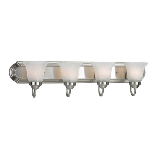 Progress Lighting Progress Bathroom Light with Alabaster Glass in Brushed Nickel Finish P3054-09