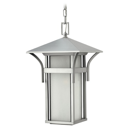 Hinkley Etched Seeded Glass Outdoor Hanging Light Titanium Hinkley 2572TT