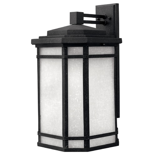 Hinkley Black Outdoor Wall Lantern with White Linen Glass 1275VK