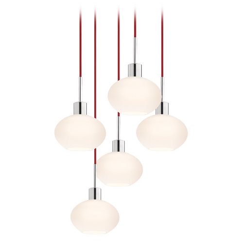 Sonneman Lighting Modern Multi-Light Pendant Light with White Glass and 5-Lights 3565.01R-5