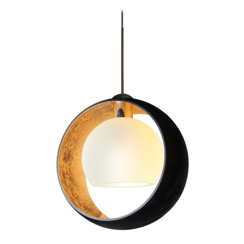 Besa Lighting Besa Lighting Pogo Bronze LED Pendant Light with Globe Shade 1XT-4293GF-LED-BR