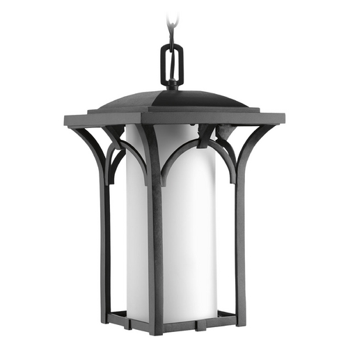 Progress Lighting Outdoor Hanging Light with White Glass in Black Finish P6518-31WB