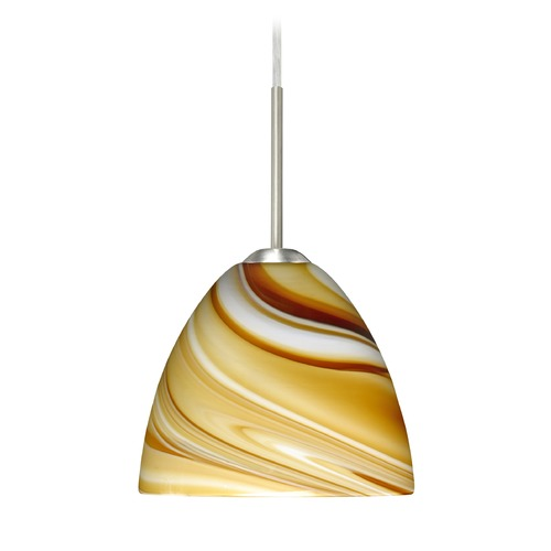 Besa Lighting Besa Lighting Sasha Ii Satin Nickel LED Mini-Pendant Light with Bell Shade 1BT-7572HN-LED-SN