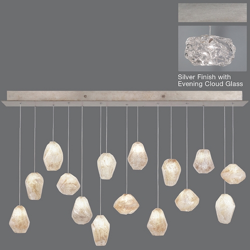 Fine Art Lamps Fine Art Lamps Natural Inspirations Platinized Silver Leaf Multi-Light Pendant 853740-11ST
