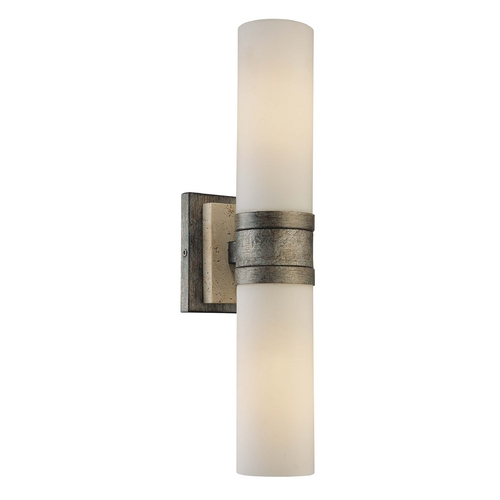 Minka Lavery Sconce Wall Light with White Glass in Aged Patina Iron W/travertine Stone Finish 4462-273