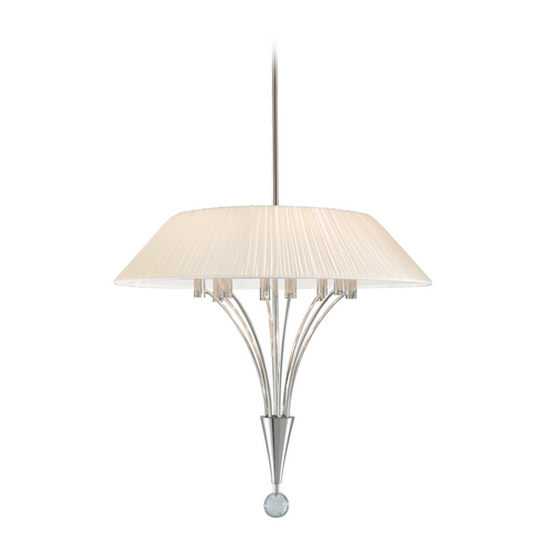 Sonneman Lighting Drum Pendant Light with White Shade in Polished Nickel Finish 3195.35