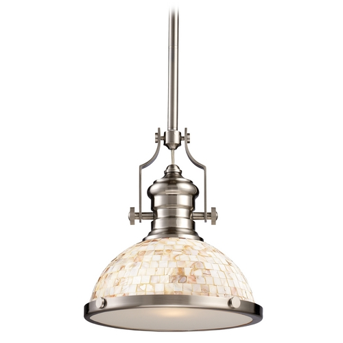 Elk Lighting Pendant Light with Beige / Cream Glass in Satin Nickel Finish 66423-1