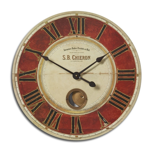 Uttermost Lighting Clock in Red Finish 06042