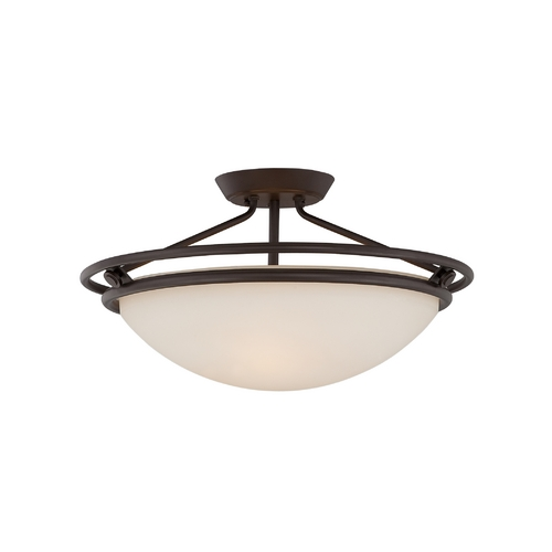 Quoizel Lighting Semi-Flushmount Light with White Glass in Western Bronze Finish QF1202SWT