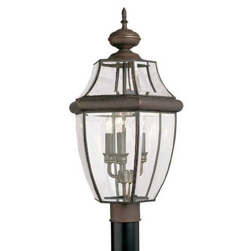 Sea Gull Lighting Post Light with Clear Glass in Antique Bronze Finish 8239-71