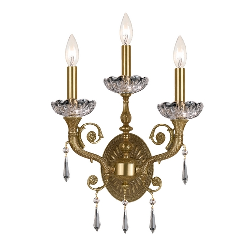 Crystorama Lighting Crystal Sconce Wall Light in Aged Brass Finish 5173-AG-CL-S