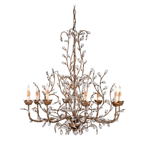 Currey and Company Lighting Crystal Chandelier in Cupertino Finish 9884