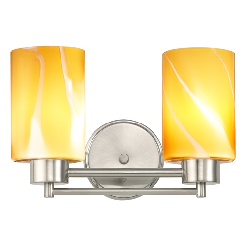 Design Classics Lighting Modern Bathroom Light with Butterscotch Art Glass in Satin Nickel Finish 702-09 GL1022C