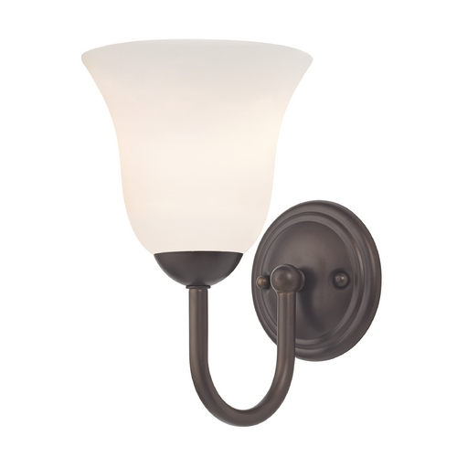 Design Classics Lighting Sconce with White Glass in Bronze Finish 593-220 GL9222-WH