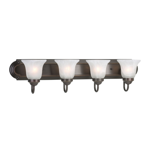 Progress Lighting Progress Bathroom Light with Alabaster Glass in Antique Bronze Finish P3054-20