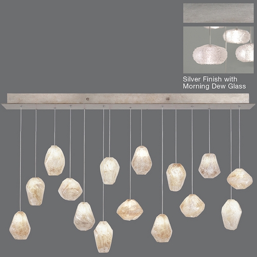 Fine Art Lamps Fine Art Lamps Natural Inspirations Platinized Silver Leaf Multi-Light Pendant with Oblong Shade 853740-12ST
