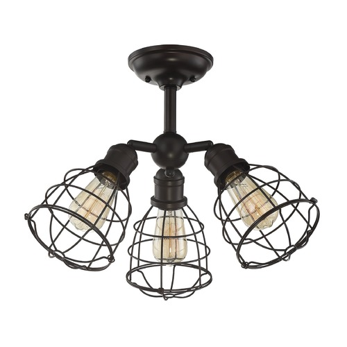Savoy House Industrial Semi-Flushmount Light Bronze Scout by Savoy House 6-4136-3-13