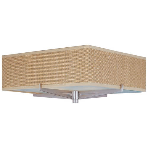 ET2 Lighting Modern Flushmount Light with Brown Shades in Satin Nickel Finish E95340-101SN