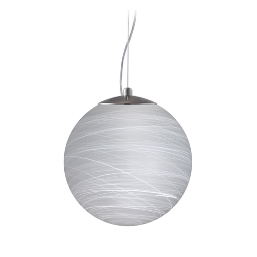 Besa Lighting Modern Pendant Light with White Glass in Satin Nickel Finish 1KX-432960-SN
