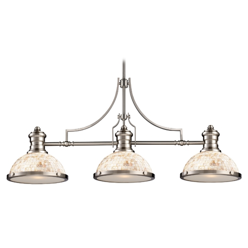 Elk Lighting Island Light with Beige / Cream Glass in Satin Nickel Finish 66425-3