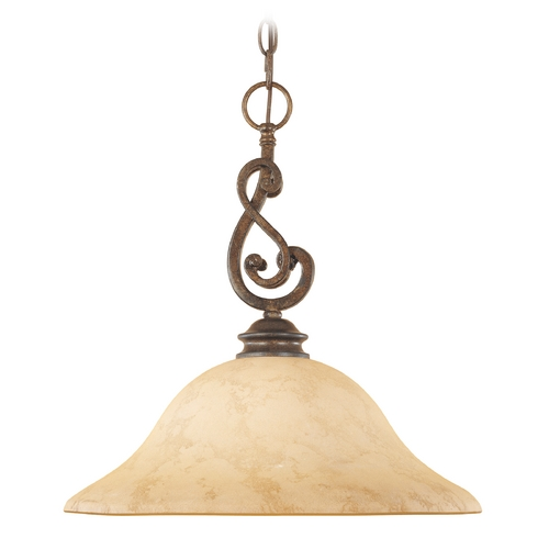 Designers Fountain Lighting Pendant Light with Amber Glass in Forged Sienna Finish 81832-FSN