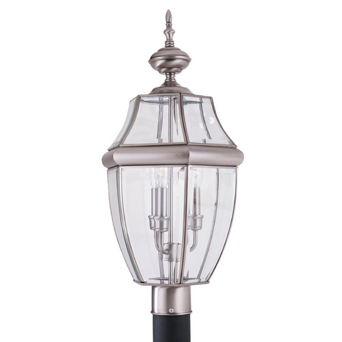 Sea Gull Lighting Post Light with Clear Glass in Antique Brushed Nickel Finish 8239-965