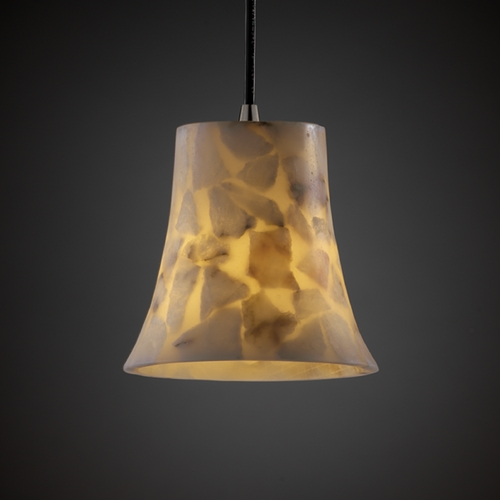 Justice Design Group Justice Design Group Alabaster Rocks! Collection Mini-Pendant Light ALR-8815-20-NCKL