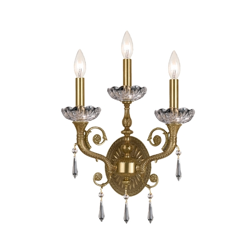 Crystorama Lighting Crystal Sconce Wall Light in Aged Brass Finish 5173-AG-CL-SAQ