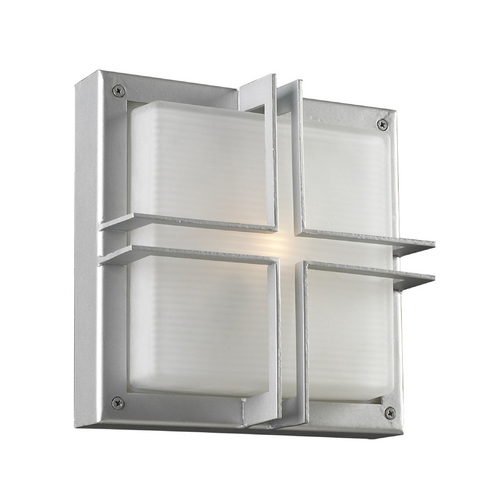 PLC Lighting Modern Outdoor Wall Light with White Glass in Silver Finish 8026 SL