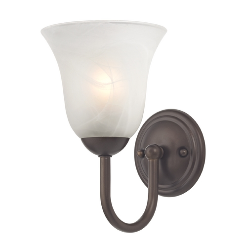 Design Classics Lighting Sconce with Alabaster Glass in Bronze Finish 593-220 GL9222-ALB