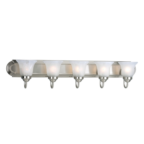 Progress Lighting Progress Bathroom Light with Alabaster Glass in Brushed Nickel Finish P3055-09