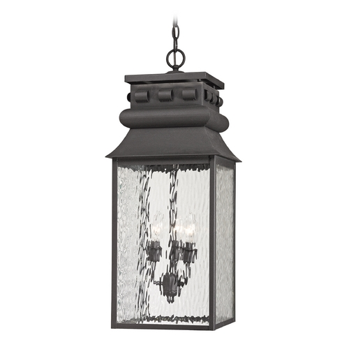 Elk Lighting Outdoor Hanging Light with Clear Glass in Charcoal Finish 47066/3
