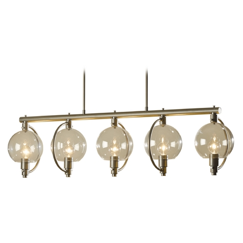Hubbardton Forge Lighting Hubbardton Forge Lighting Pluto Burnished Steel Island Light with Globe Shade 137805-08-ZM436