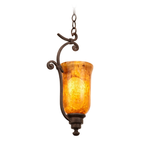 Kalco Lighting Kalco Lighting Somerset Tortoise Shell Mini-Pendant Light with Bell Shade 4975TO/PENSH
